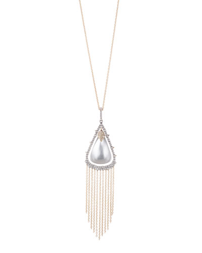 Crystal Capped Tassel Chain Necklace