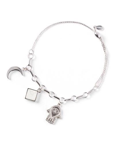 Moon Triple-Charm Bracelet, Silver