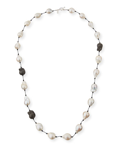 Fifth Avenue Long Pearl & Spinel Necklace  36L