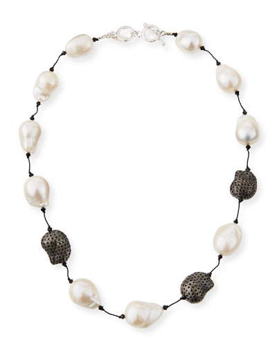 Fifth Avenue Short Pearl & Spinel Necklace  18L