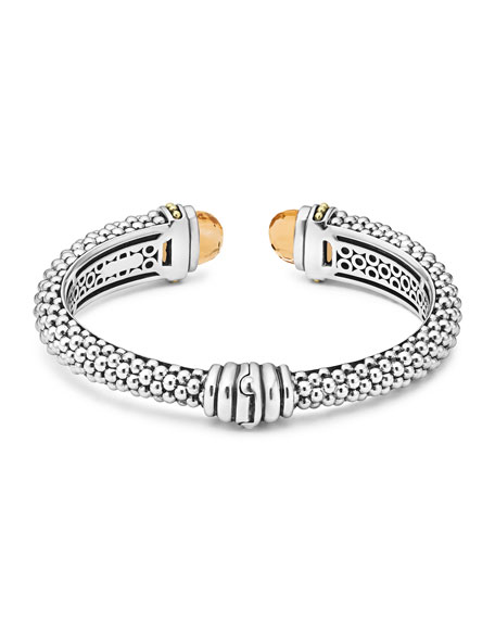 Caviar Stone Cuff Bracelet, Citrine