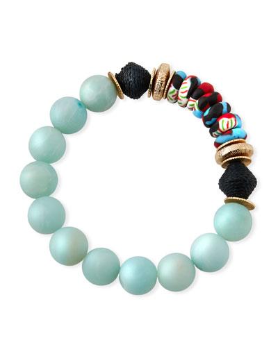 Amazonite & Glass Bead Bracelet
