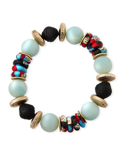 Alternating Amazonite & Glass Bead Bracelet