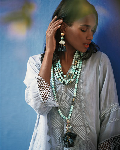 Horn & Tassel Drop Earrings, White