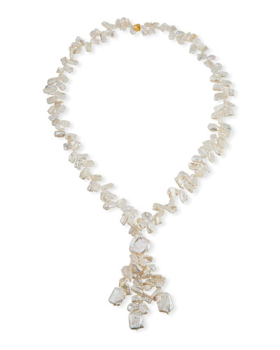 Pearl Cluster Long Drop Necklace