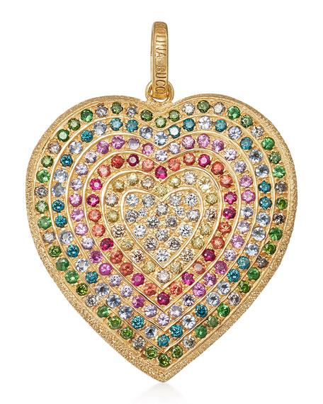 18k Gold Florentine Rainbow Heart Pendant