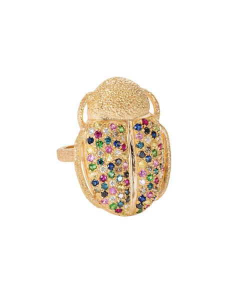 18k Gold Scarab Multi-Stone Ring, Size 6