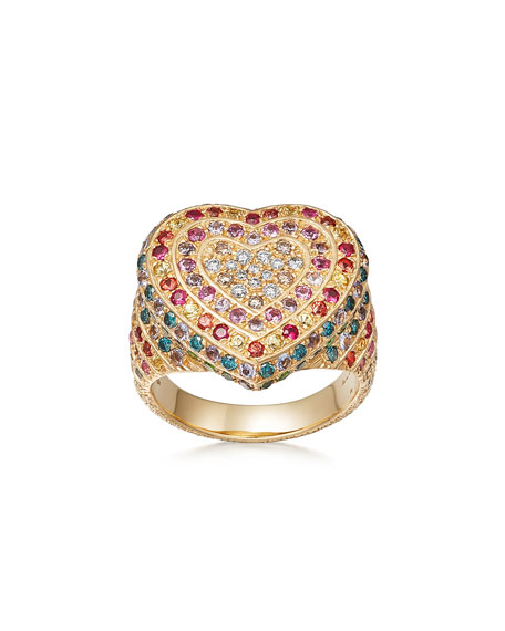 18k Gold Florentine Multi-Stone Heart Ring, Size 6