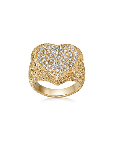 18k Gold Florentine Pave Heart Ring, Size 6