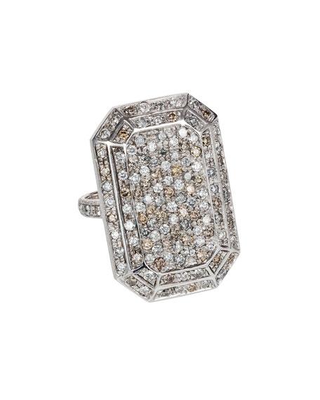 18k White Gold Looking Glass Emerald-Cut Diamond Ring, Size 6