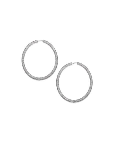 Carolina Bucci 18K WHITE GOLD FLORENTINE EXTRA-LARGE HOOP EARRINGS