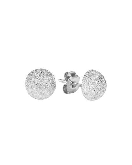 18k White Gold Florentine Medium Stud Earrings