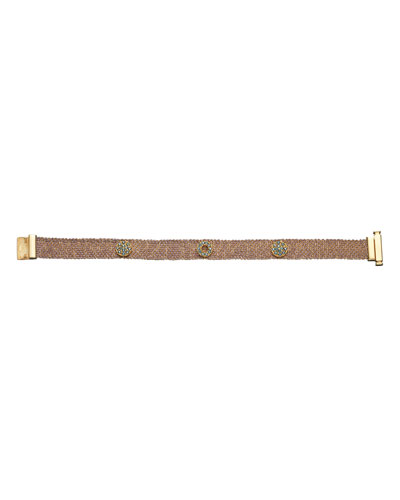 18k Pink Gold Looking Glass Woven Bracelet, 1cm