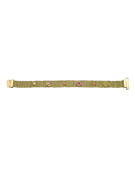 18k Studded Woven Bracelet, 1cm