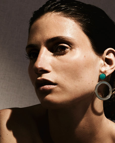 Image 3 of 3: Ippolita 18K Polished Rock Candy Dot & Circle Earrings in Mother-of-Pearl & Turquoise