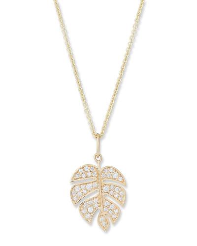 14k Medium Diamond Monstera Leaf Necklace