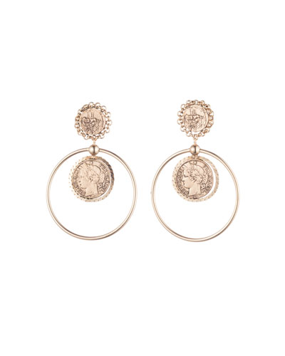 Nia Coin Hoop Drop Earrings