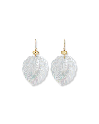 Hand-Carved Mother-of-Pearl Palm Leaf Earrings