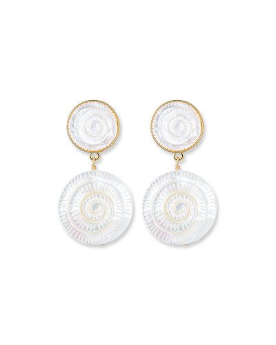 Hand-Carved Mother-of-Pearl Shell Drop Earrings