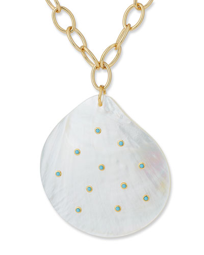Mother-of-Pearl & Mini Turquoise Pendant Necklace