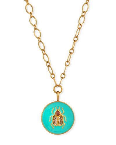 Bug Talisman Necklace w/ Crystals