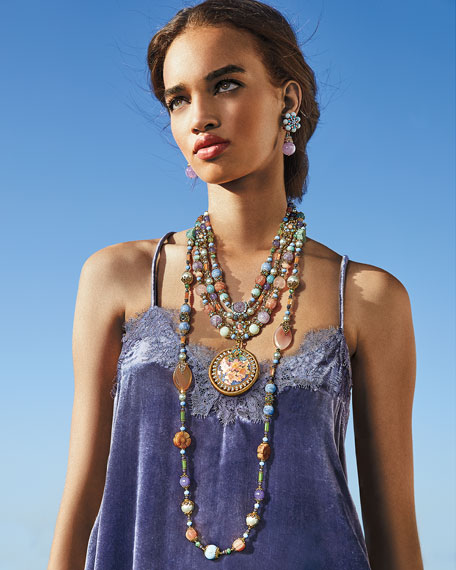 Semiprecious Decoupage Pendant Necklace, Pastel