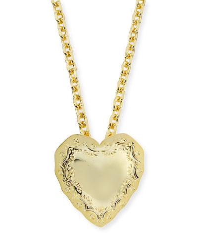 Repousse Heart Pendant Necklace