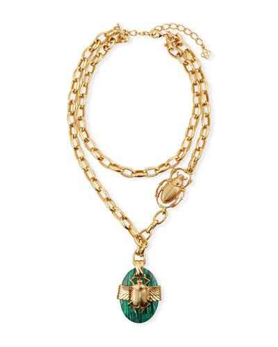 Scarab Stone Pendant Necklace