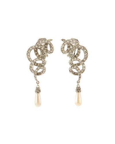 Crystal Pave Swirl Drop Earrings