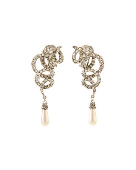 Oscar De La Renta Jewelry CRYSTAL PAVE SWIRL DROP EARRINGS
