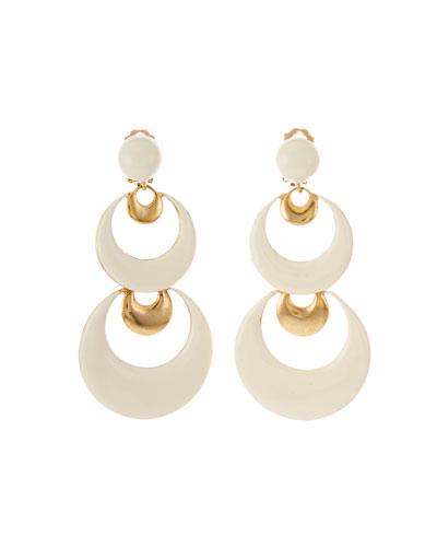 Resin Moon Clip-On Drop Earrings