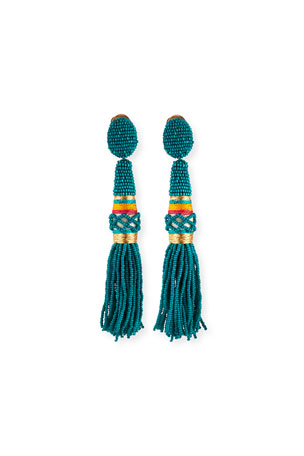 Oscar de la Renta Beaded Tassel Clip-On Earrings