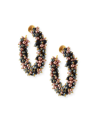 Glossy Beaded Hoop Earrings