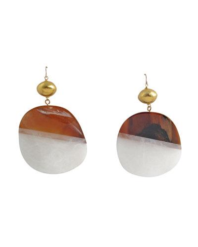 Two-Tone Resin Medallion Drop Earrings