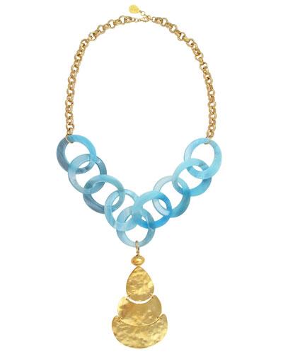 Resin-Link Hammered Pendant Necklace