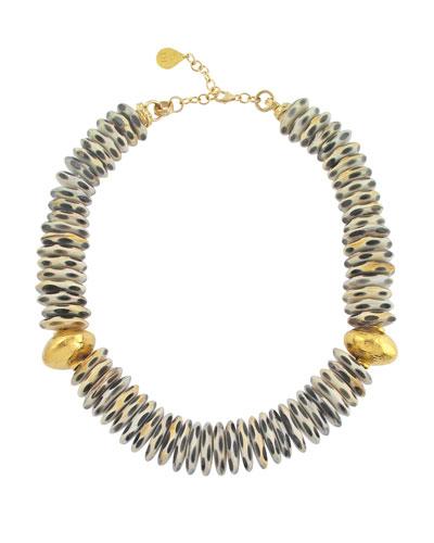 Black & White Animal-Print Horn Necklace