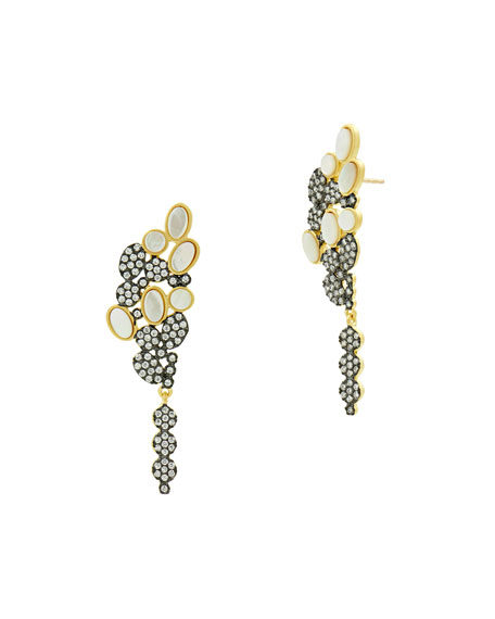 Imperial Mother-of-Pearl & Pave Cluster Earrings