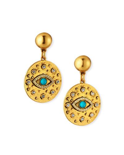 Evil Eye Crystal Drop Earrings
