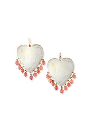 Ashley Pittman Landa Heart Earrings in Light Horn