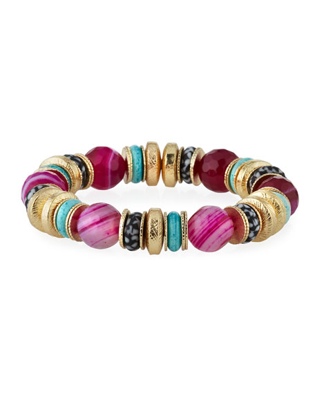 Akola Agate, Bone & Glass Stretch Bracelet, Pink