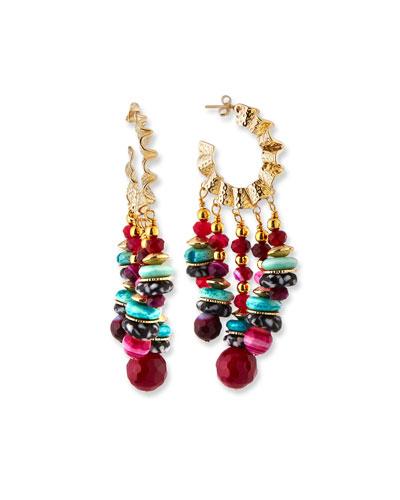 Wavy Hoop & Mixed Bead Earrings  Multi