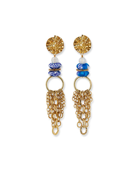 Akola Glass & Chain Dangle Earrings, Blue