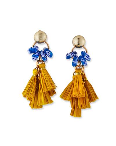 Glass & Raffia Tassel Earrings