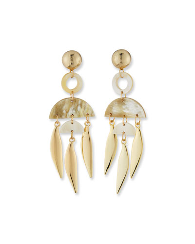 Horn Geometric Spike-Drop Earrings  White