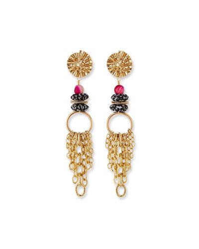 Glass & Chain Dangle Earrings  Black