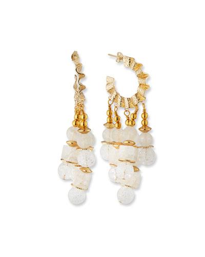 Wavy Hoop & Crackle Quartz Earrings  White