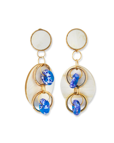 Horn Post & Dangle Earrings  Blue