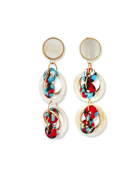 Akola Horn & Glass 2-Drop Earrings