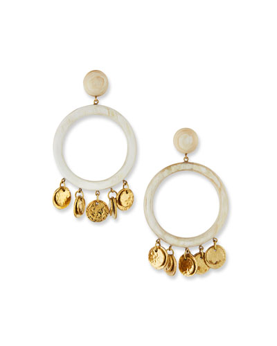 Azali Hoop Drop Earrings in Light Horn