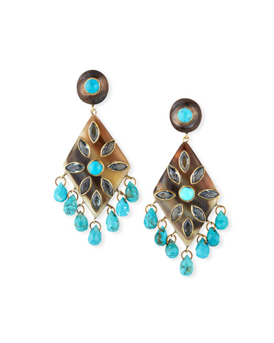 Ibada Horn & Topaz Drop Earrings  Dark/Blue